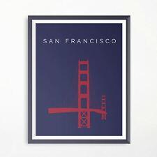 San Francisco Golden Gate Bridge Minimalistic Travel Poster Print Art Original