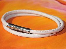 Ladies 4mm Cream Nappa leather & stainless steel bracelet by Lyme Bay Art