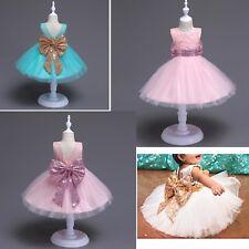 Vestito Cerimonia Compleanno Feste Bambina Fiocco Paillettes Party Dress DG0056