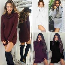 Women High Neck Loose Knit Long Sweater Jumper Mini Dress Pullover Long Tops JJ