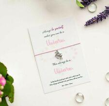 "Unicorn Wish bracelet, ""Always Be Yourself"", Tibetan Silver Unicorn Charm Card"