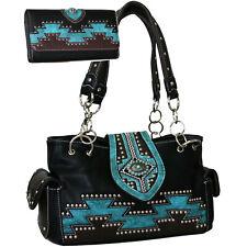 Western Aztec Accent Purse Handbag /Wallet Set