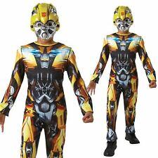 Bumblebee Flip Top Maschera ABITO FANTASIA RAGAZZI Trasformatore Film Beetle Kids Costume