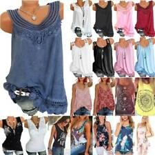 Women Boho Floral Hippie Tank Tops Summer Beach Vest T-shirt Loose Casual Blouse