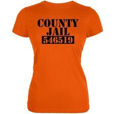 Halloween County Jail Inmate Costume Orange Juniors Soft T-Shirt