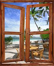 Sticker mural fenêtre trompe l'oeil déco Piscine détente réf 2521