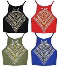 Nuevas Damas Cuello Alto Cami Aztec Print Crop Top 8-14