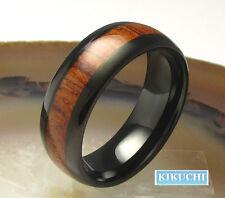 Holzring Edelstahlring Stahl Wolfram Fingerring Herren schwarz Ring 60/63/66/68