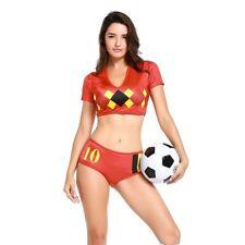 Damen Cheerleader Welt Fußball Mädchen Kostüm Fussball Anzug Outfit Uniform
