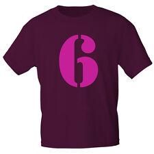 Marken Kinder T-Shirt 110-116 122-128 134-146 152-164 Zahl 6 85158 bordeaux