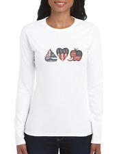 Crewneck Sweatshirt Country Americana Patriotic Heart Boat Apple Usa Flag