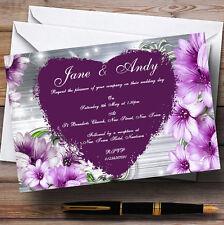 Violet coeur fleurs mariage invitations personnalisées