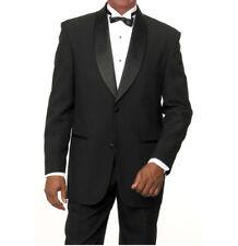 Men's Two Button Shawl Lapel 2 Piece Tuxedo Suit T822 Black Size 36R - 56L