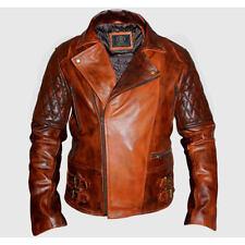 Classic diamond moto motard marron vieilli vintage veste en cuir