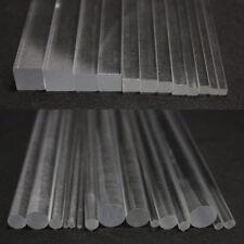 Acrylic Perspex Clear Round Rod Circular Bar Square Rod Bar 100/200/300mm Length