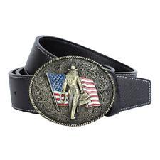 Mens Vintage Belt Black Coffee Leather Flag Buckle Belt Western Cowboy Strap