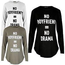 Womens Long Sleeve Slogan Print Curved Hem T-Shirt Top