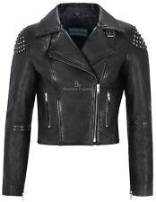 "Ladies Leather Jacket Black ""BACK SKULL STUDED"" Biker Style REAL SOFT NAPA 2740"