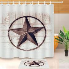 Rusty Metal Texas Star Shower Curtain Bathroom Waterproof Fabric Decor Mat Hooks
