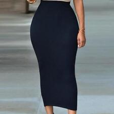 Women Midi Skirt Ladies Plain Stretchy Wiggle Pencil Tube Long Bodycon FW