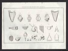 DIFFERENTS INSTRUMENTS DE MUSIQUES ANCIENS Gravure originale 1844