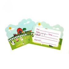 Farm Cow Pig Animals Theme Invitation Card For Kids Birthday Party Decoration