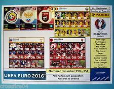 Panini Adrenalyn EM Euro 2016 - Romania,Russia,Albania Alle Karten Nr. 298 - 351