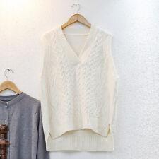 Cable Knit Women Sweater Jumper Vest Waist Guilt Preppy Sleeveless Pullover Warm