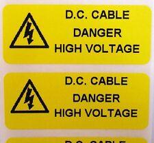 ETICHETTE di avvertenza sicurezza elettrica-solari DC nel Cavo-Giallo 50mm x 20mm