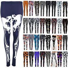 Ladies Womens Bodycon Halloween Bone Skeleton Stretchy Costume Jeggings Leggings