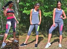 Women Active Wear Crop Top Yoga Pants Gym Sports Vest Leggings Running Ladies
