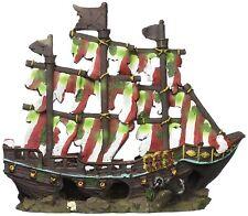 Penn Plax Striped Sail Shipwreck Fish Tank Ornament Decoration