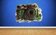 T REX effet 3D brisée wall sticker, Parc Jurassique style art tyrannosaure no2
