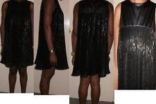 miss selfridge black pleat tunic animal print sheer leather look dress size 8-10