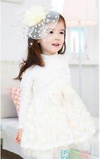 Girl White long sleeve cotton Lacey dress size 3-6 tulle Flower Girl Christening