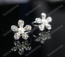 U CLIP ON pearl&crystal DIAMANTE rhinestone EARRINGS