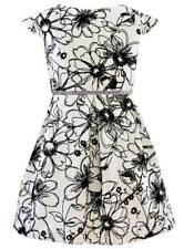 Mädchen Kleid Festlich Einschulung Hochzeit Party Blumen Muster Weiß Schwarz