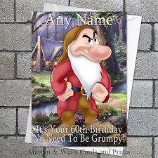 Snow White: Grumpy birthday card: Personalised, plus envelope.