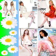 KOMMUNION festliche Mädchen Kinder Strumpfhose weiß glatt oder Muster glänzend