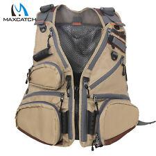Maxcatch Fly Fishing Vest Pack Adjustable Mesh Vest Jacket Multi-pocket Outdoor