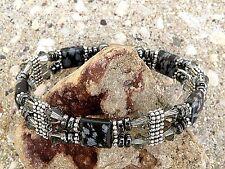 Womens Magnetic Bracelet Anklet Snowflake Obsidian w Blk Diamond SWAROVSKI 2 Row