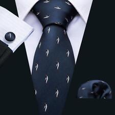 Mens Ties Sets Silk Animal Print Ties Blue Penguin Tie Hanky Cufflinks Neckties