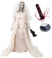 DELUXE ZOMBIE BRIDE COSTUME HALLOWEEN FANCY DRESS FACE PAINT FAKE BLOOD