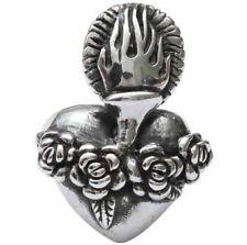 Huge Old School Sacred Heart Roses Fine Sterling Silver Ring Femme Metale 925