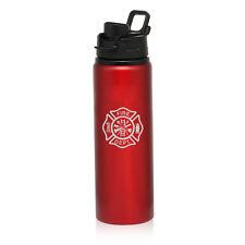 25oz Aluminum Sports Water Bottle Travel Canteen Fire Department Maltese Cross