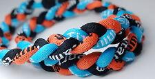 "Wholesale Lot of 10 20"" Black Orange Light Blue Baseball Titanium Necklace Twist"