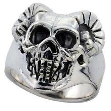 Sterling Silver Biker Skull Ring w/ Devil Horns