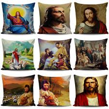 """18"""" Christian Jesus Pillow Case Linen Cotton Home Textile Waist Cushion Cover"""