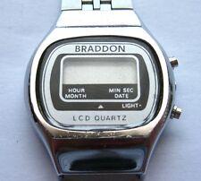 Vintage Braddon Digital LCD Ladies Watch With Original Silver SS Bracelet, *S/R*
