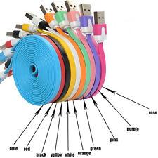 1m Flat Noodle largo Micro USB Cargador Usb Data Sync Cable Color Samsung HTC..